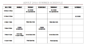 Adult Summer Schedule
